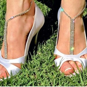 Sexy Ankle Bracelets, Clear Rhinestones Set of Two
